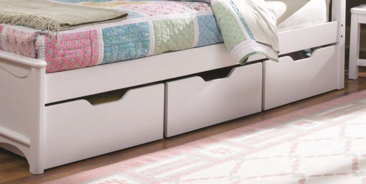 Three Underbed Storage Drawers in White Color