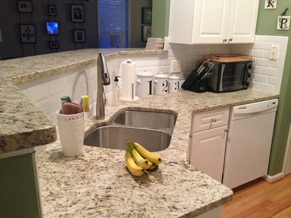 White Kitchen Furnishing with White Giallo Ornamental Granite Countertops