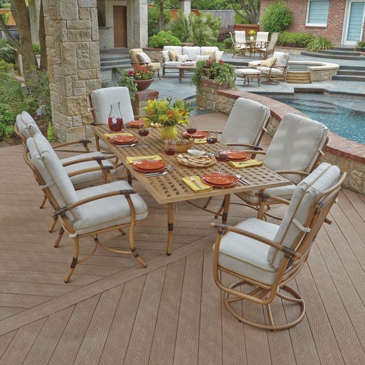 Woodard Patio Glade Isle Rectangle Dining Table Sets
