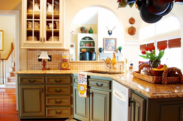 Wooden Kitchen Furniture Design Rustic Flair with Giallo Ornamental Granite Countertop