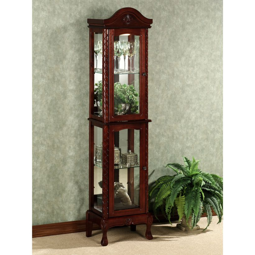Carved Curio Cabinet with Mahogany Finish Wakefield and Curved Legs plus Carved Lattice Designs Corner Curio Cabinet Ikea