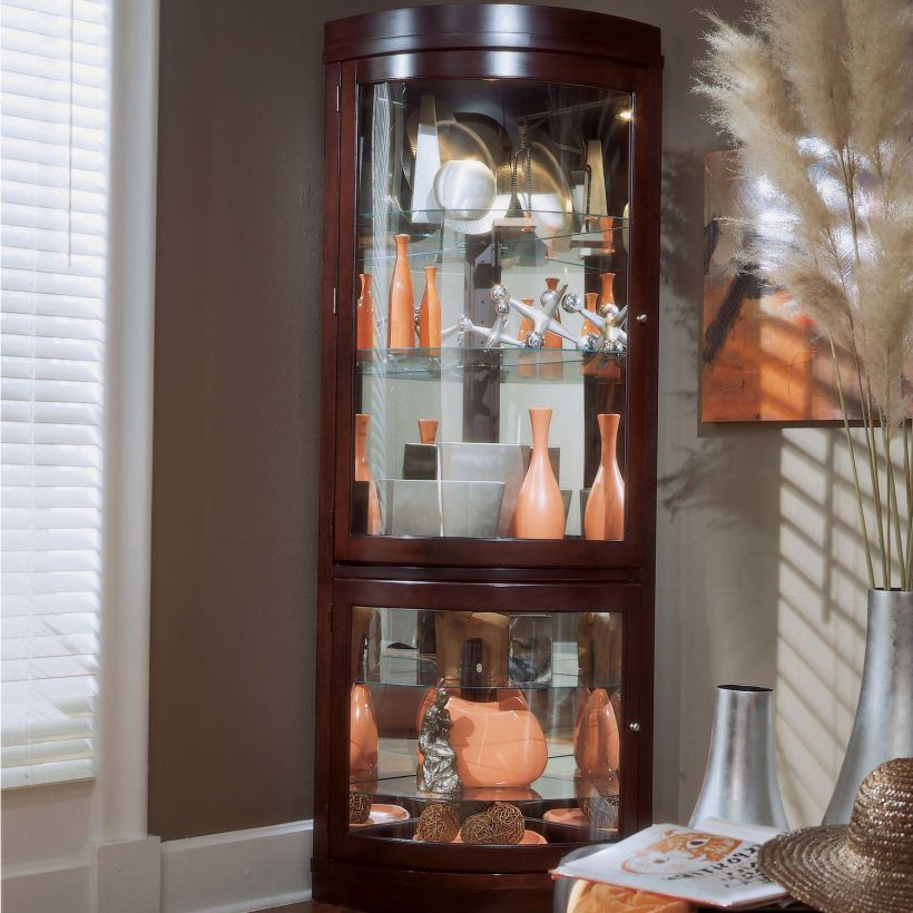 Chocolate Cherry Finish Keepsakes Corner Curio Cabinet By Pulaski to Display Collectibles and Memorabilia Corner Curio Cabinet Ikea
