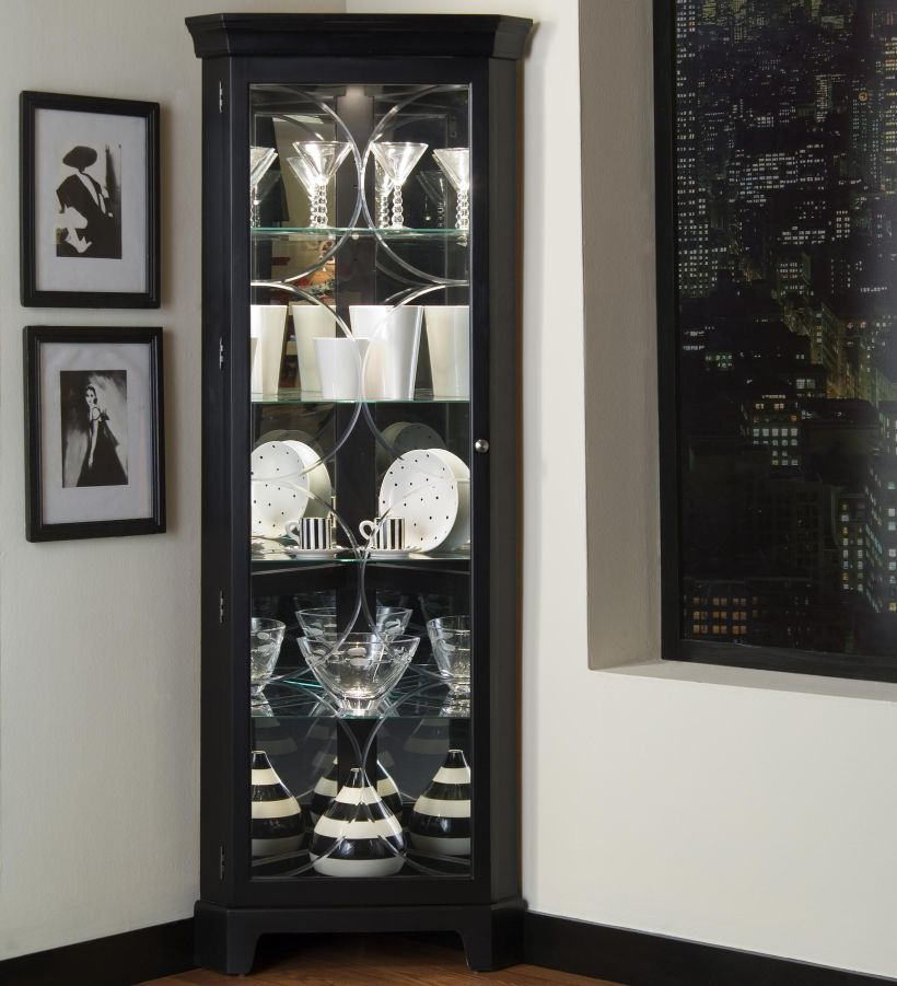 Curios Oxford Black Corner in Traditional Style By Pulaski with Five Glass Shelves and Embedded Lighting Corner Curio Cabinet Ikea