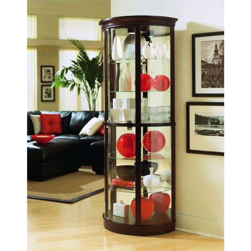 Dark Wood Lighted Corner Curio Cabinet With Glass Door And Glass Walls Corner Curio Cabinet Ikea