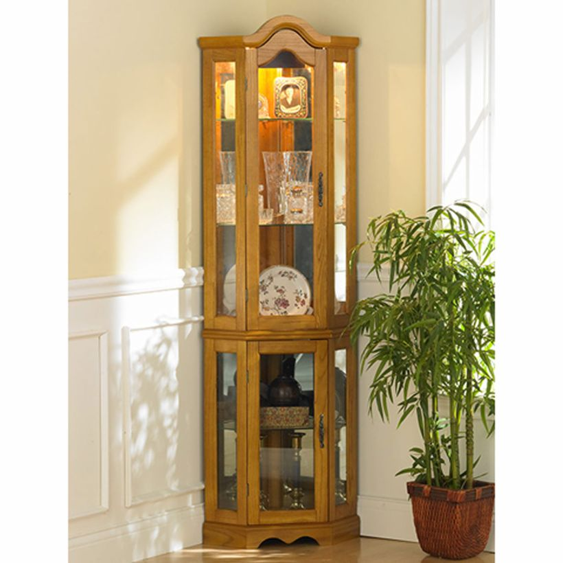 Golden Oak Lighted Corner Curio Cabinet With Built-In Lighting and Tempered Glass Shelves And Sides Corner Curio Cabinet Ikea