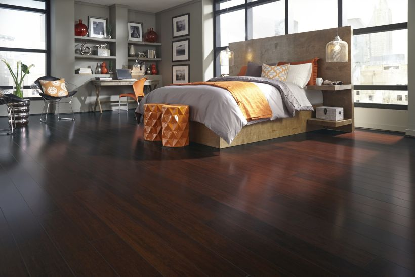 Less Dark Colored Bamboo Caramelized Flooring In Master Bedroom