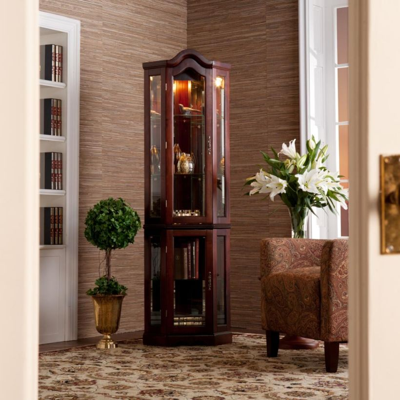 Lighted Curio Corner Display Cabinet by Southern Enterprises with Mahogany Corner Curio Cabinet Ikea
