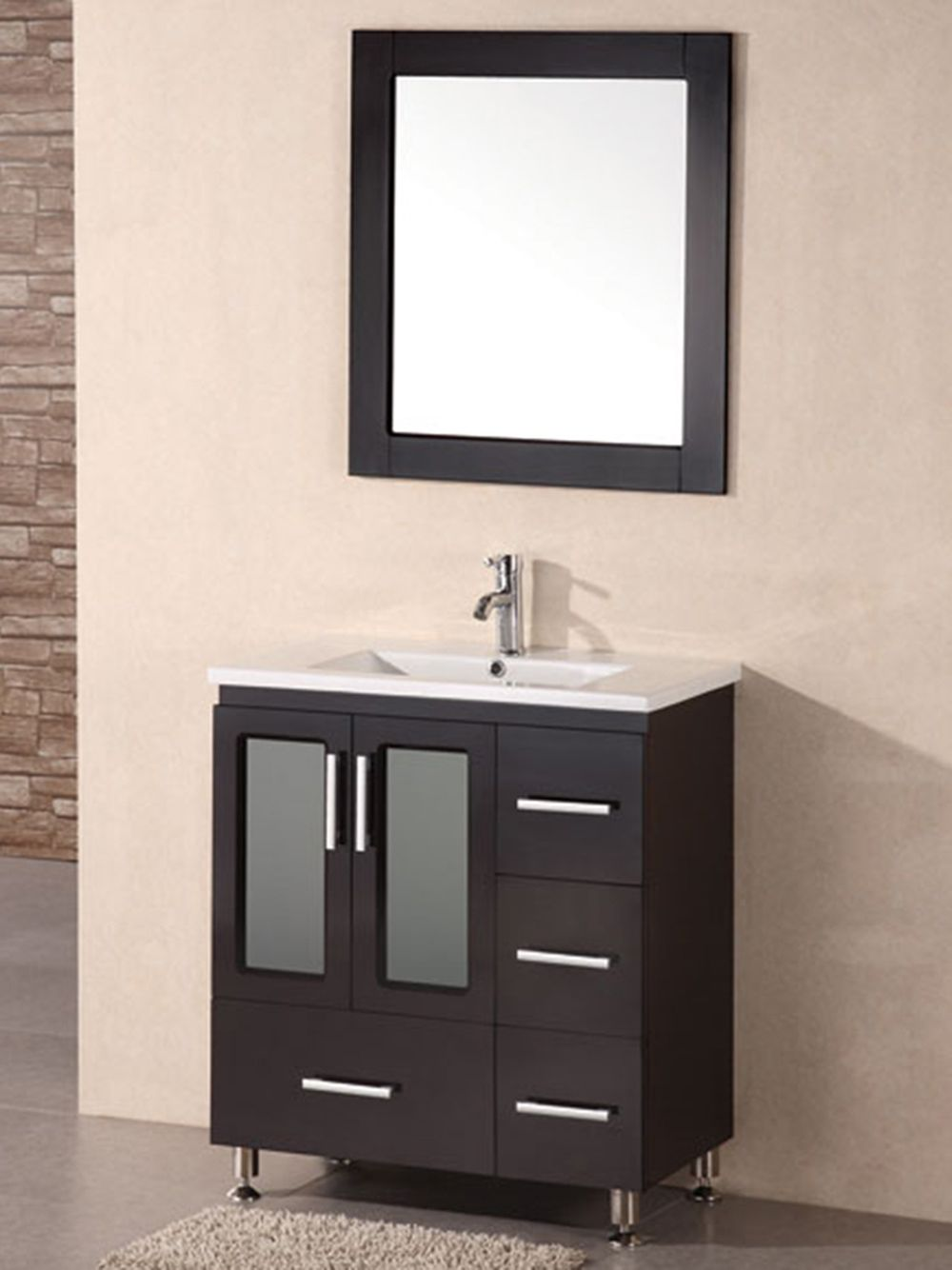 black bathroom style vanity in narrow size with ceramic sink and square mirror with black wooden frame
