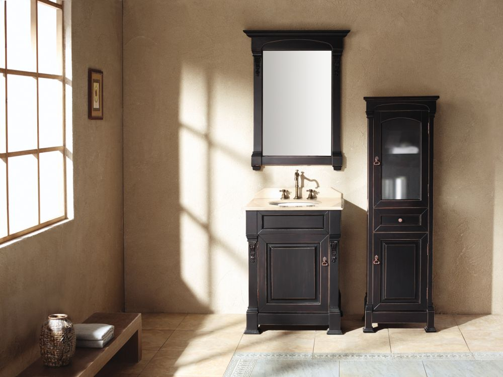 Black Bathroom Vanity in Rustic Narrow Shaped with Two Storages and Traditional Faucet