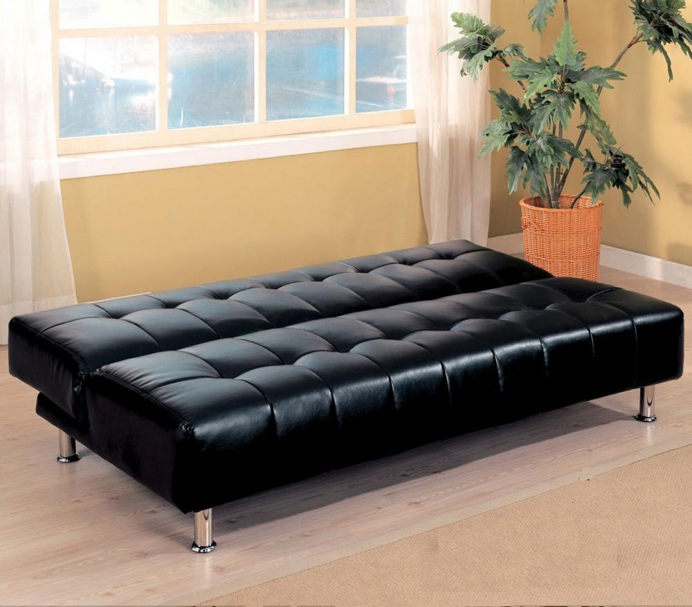 black faux leather sofa with wooden flooring for living room