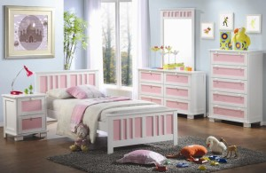 bright and comfort bedroom design for girls with white and pink bedframe plus soft rug for playing toys
