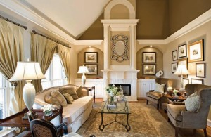 bronze wall color creates glamour and sparkling interior design
