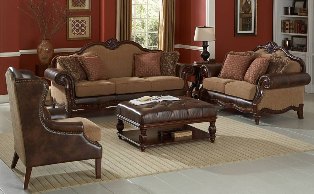 classical formal living room styled interior with padded coffee table in front of the sofa