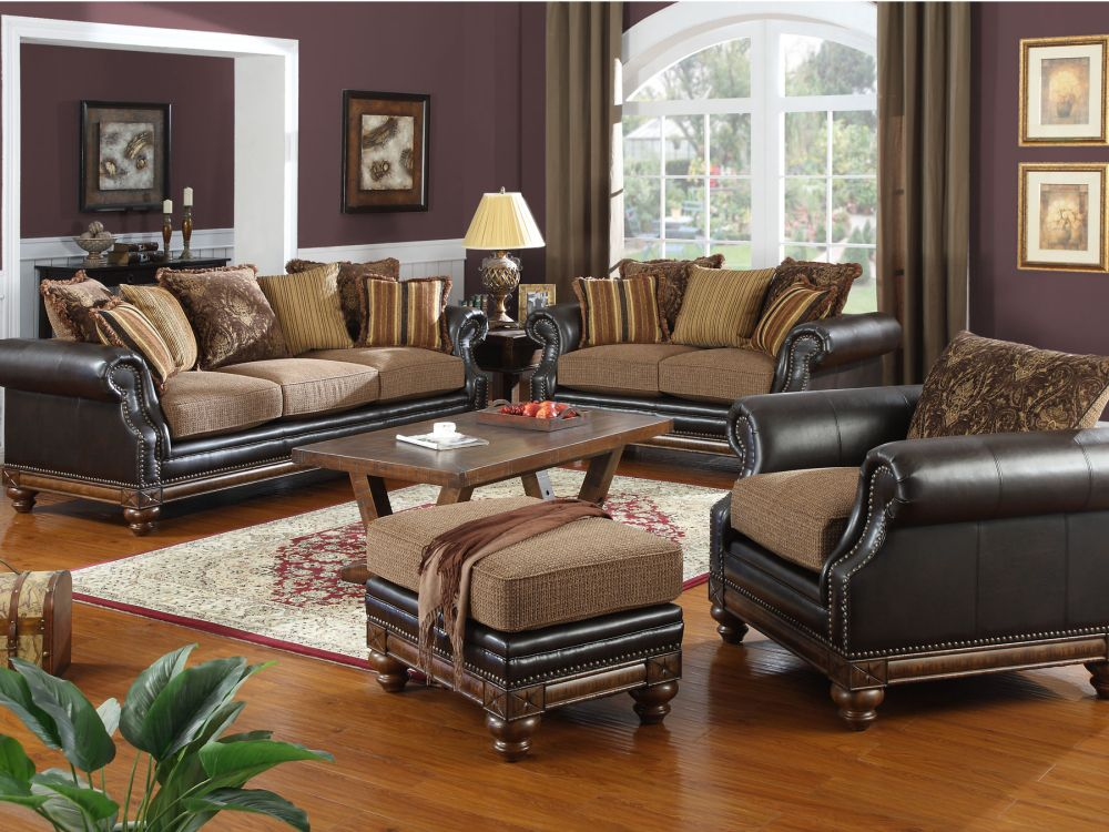 comfort leather furniture set for living room with soft couch and wooden table