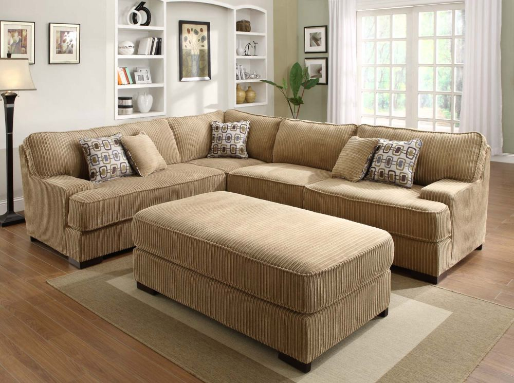 comfort living room with brown microfiber sofa with soft cushion and wall mount shelf