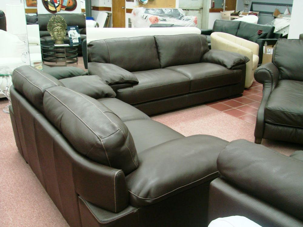 comfortable leather sofa set for sale with cushion