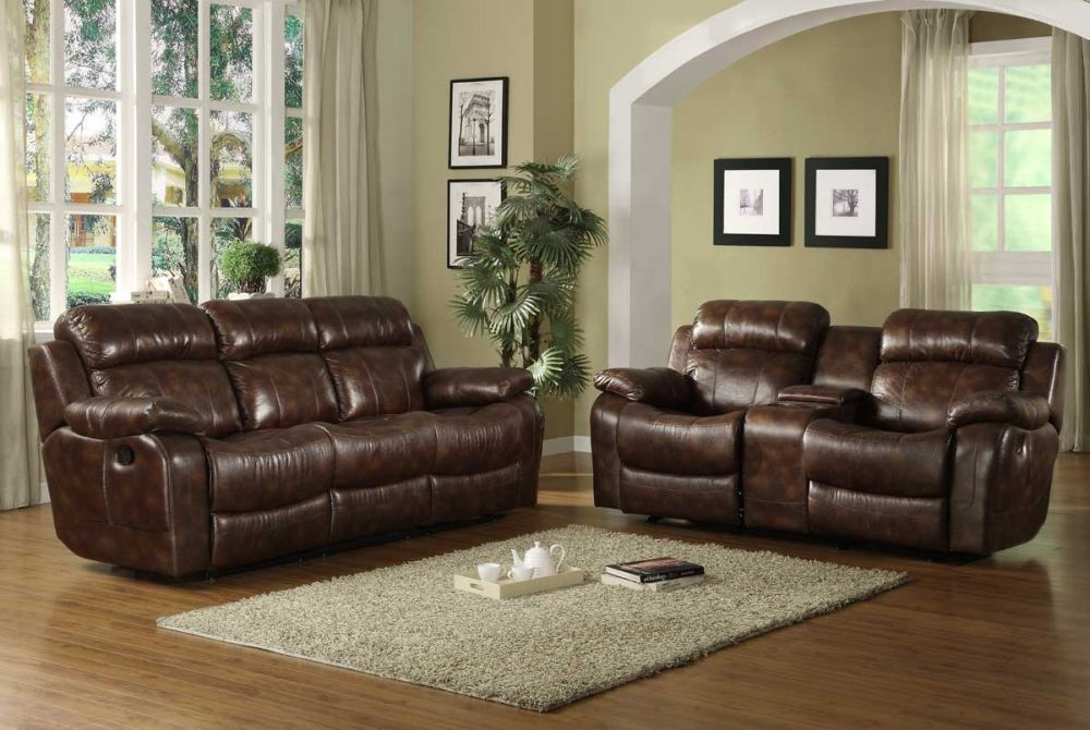 comfortable living room with faux leather reclining sofa in brown color with glossy attributes
