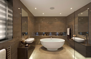 contemporary renovated bathroom style with modern quality furniture and interior decors