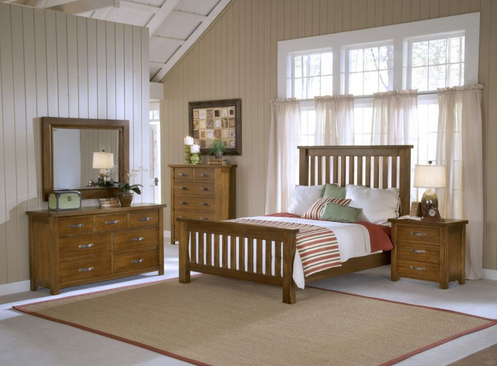 country atmosphere mission bedroom style with white large windows and wooden vanity plus cabinet