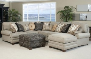 Cream Microfiber Sofa Design with Light Cushion and Single Additional Chair