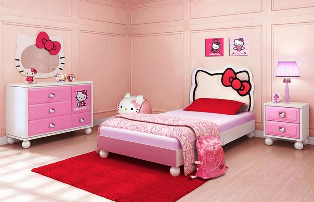 cute bedroom for girls with Hello Kitty furniture set and pink bedframe