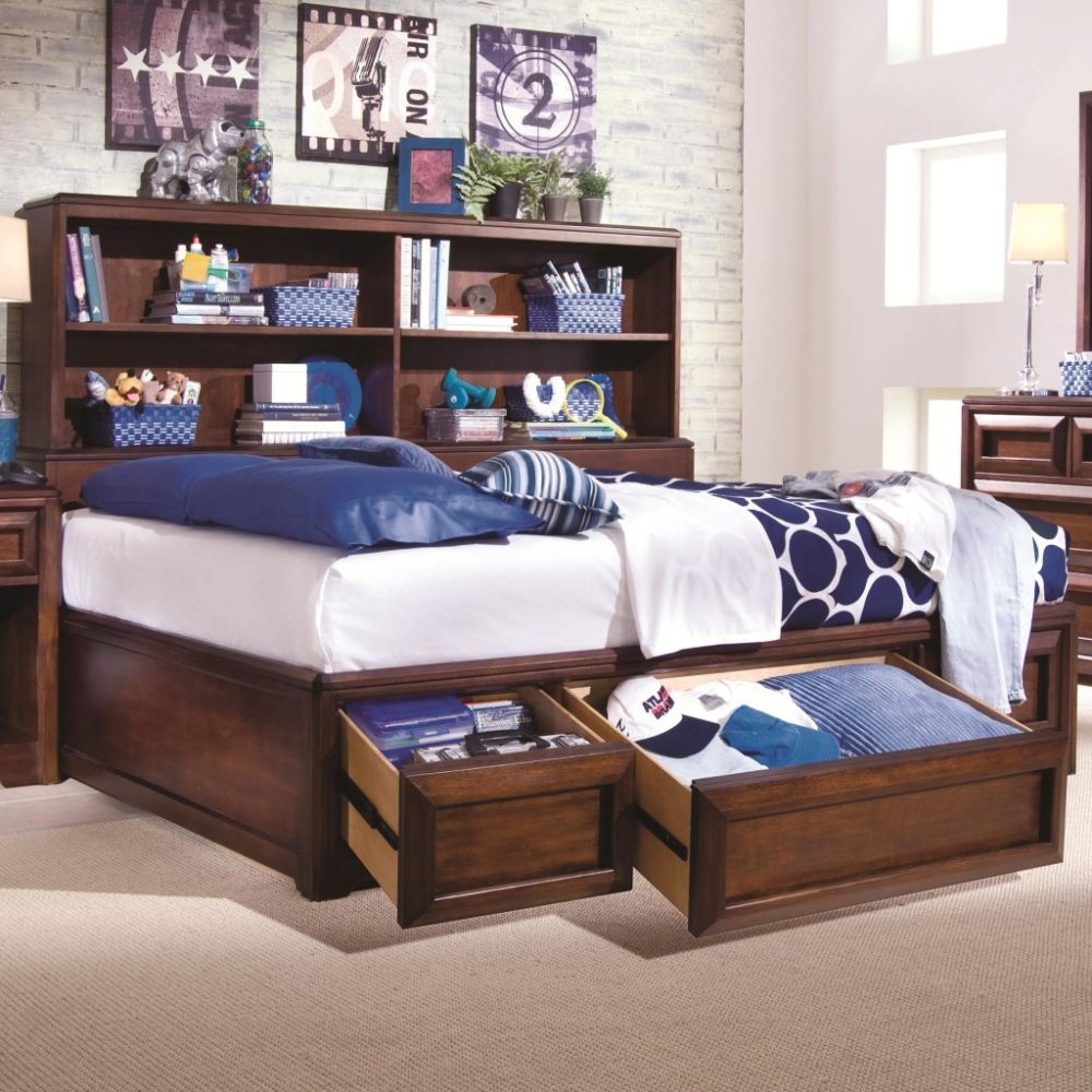 dark glossed brown wooden daybed for kids with charm blue white bedding sets and standing rack