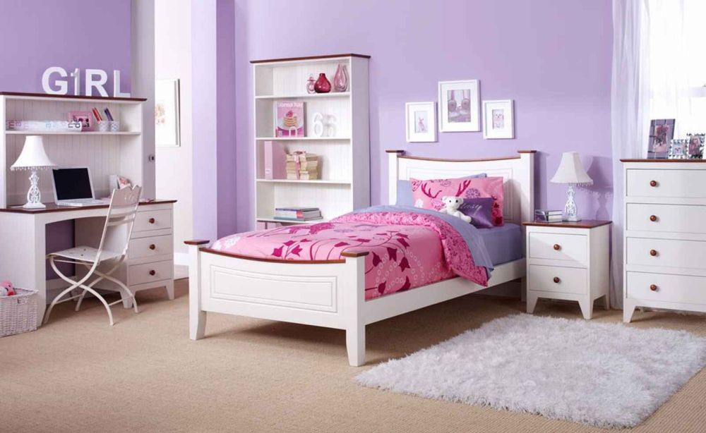 elegant nuance little girl's bedroom with purple walls paint and white bed frame with pink bedding set
