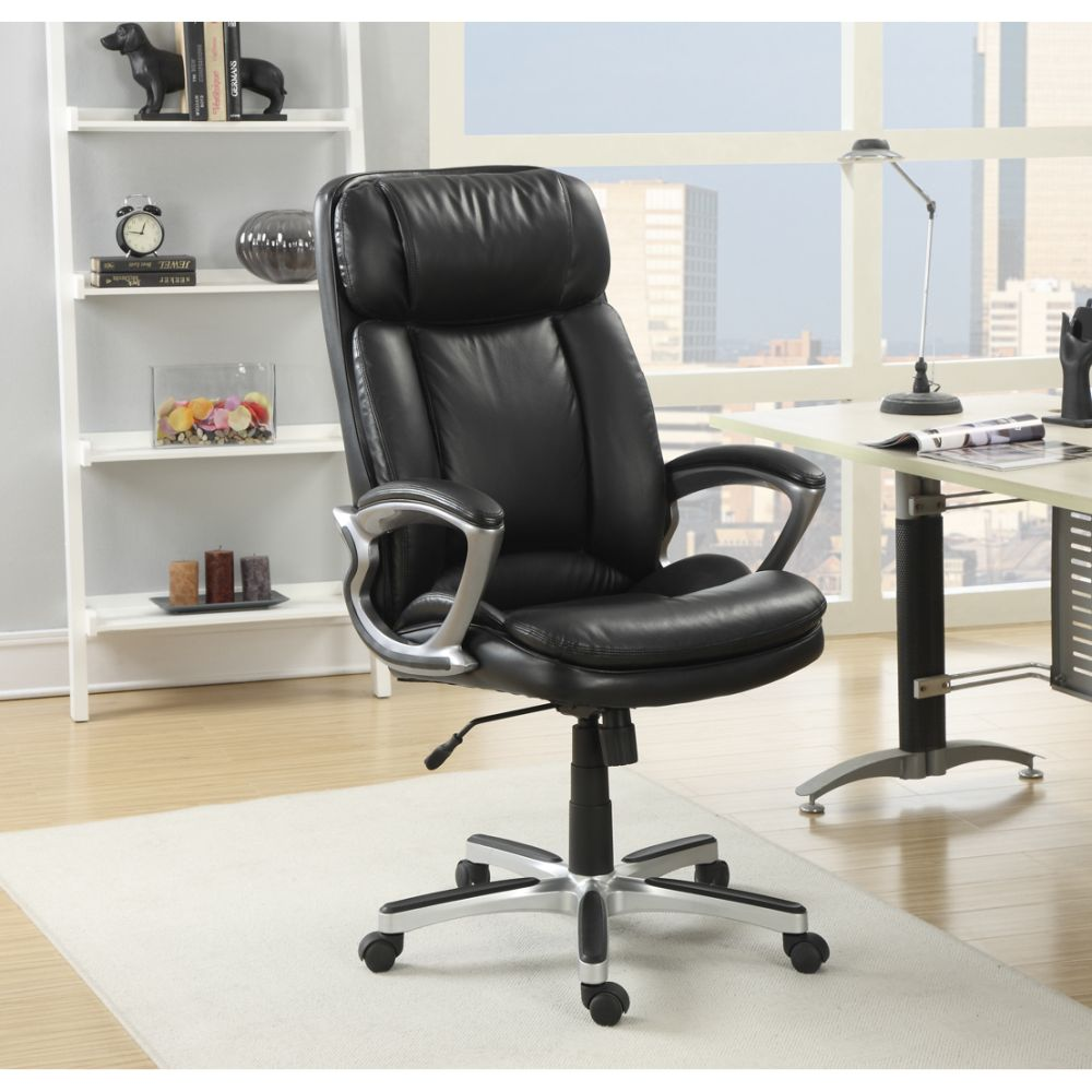 elegant orthopedic office chair in black smooth fine leather with caster and armrest