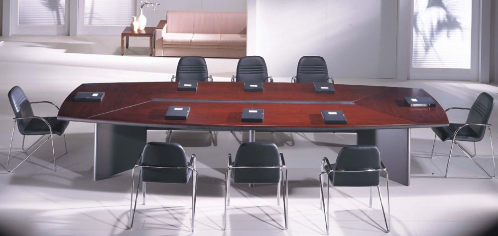 expandable conference wooden table for eight people with black leather in stainless frame