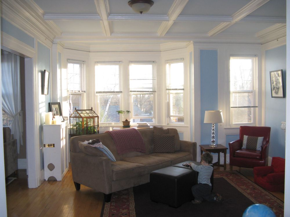 fabulous small apartment living room with with ceiling paint and blue paint on the wall
