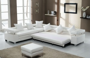 furutristic living room with comfortable sectional sofa sleeper and finest leather cover