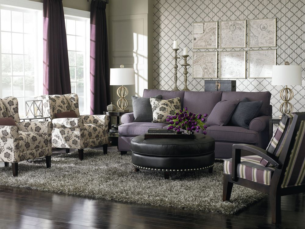 gorgeous living room style in victorian interior design with black solid wood frames recliner chair and two vintage floral armchairs