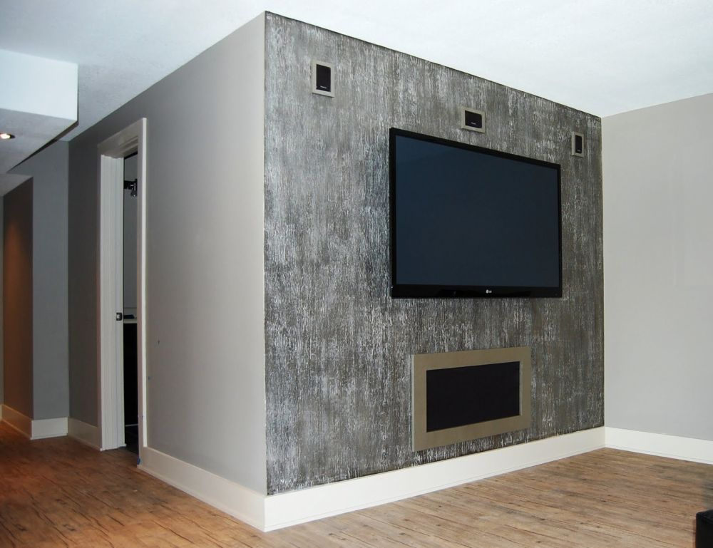 gray metallic paint for walls with electric fireplace and a set of TV