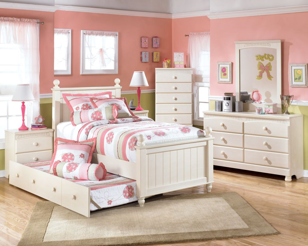 large and comfort bedroom for little girl's with pink wall paint and white bedding furniture set