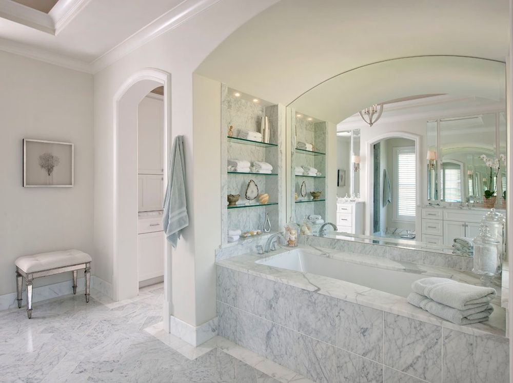 Large Glass Shelves with Grey Marble Tile Wall and Magnificent Alcove Tub