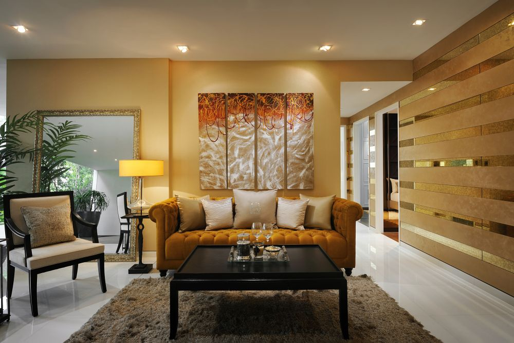 metallic paint copper tone with white ceiling and white flooring