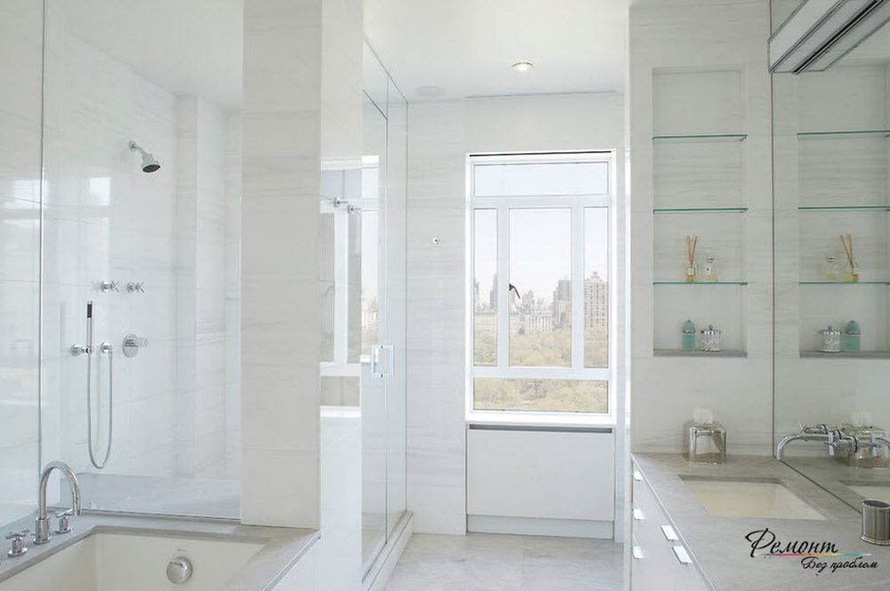 modern bathroom with glass shelves and looks larger for the pretentious white powder room