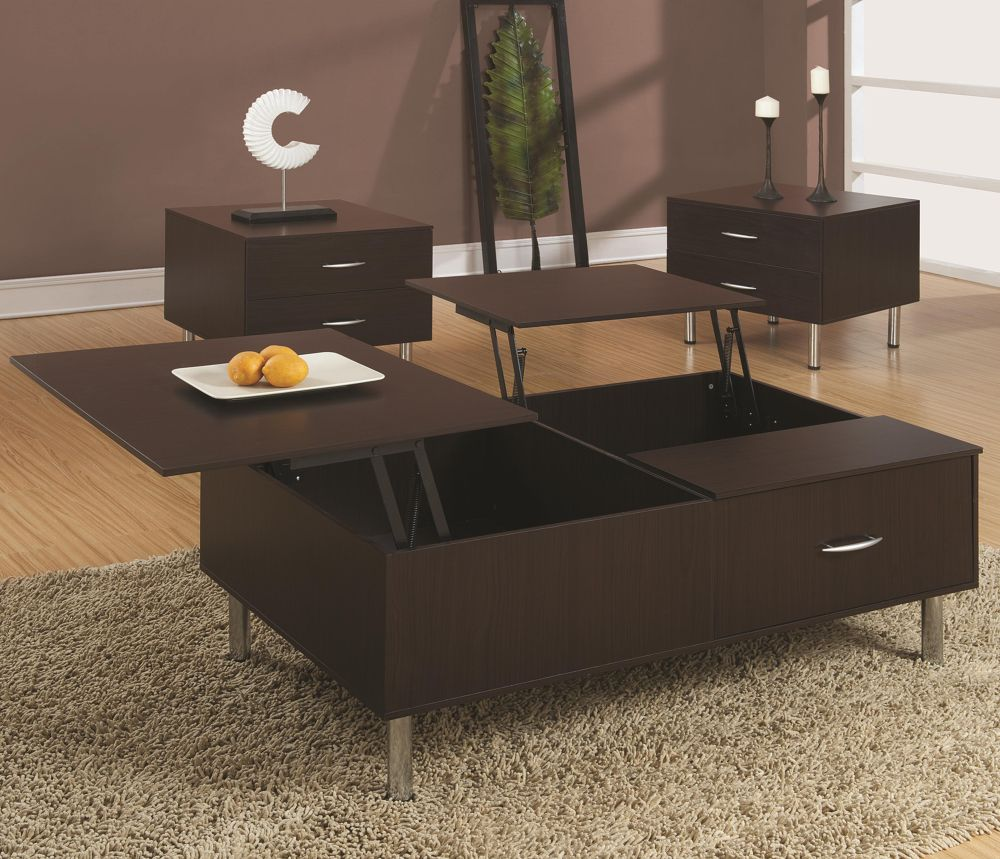 modern dual pop-up coffee table with storage in contemporary living room