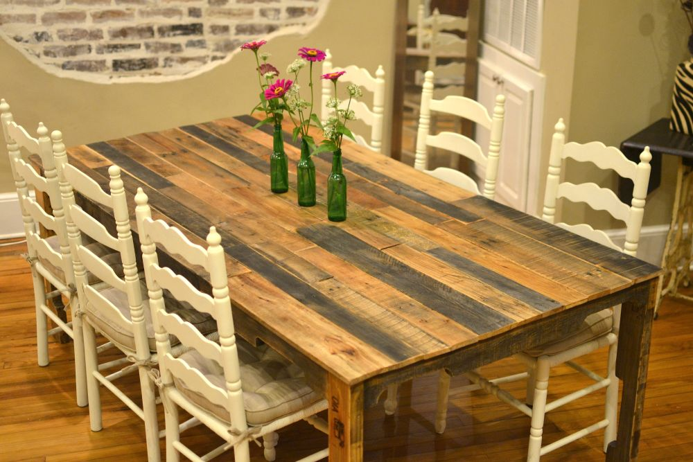 natural look pallet wooden dining furniture and white chairs