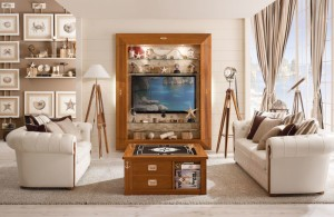 nice custom brown nautical themed living room table design with paper shelf and drawer