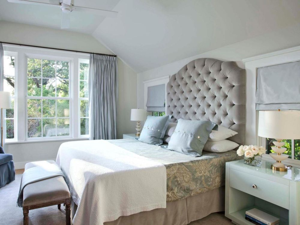 nice master bedroom ideas with grey headboard design combine with white framed windows and grey curtain