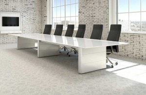 oversized rectangle white wooden conference table with industrial meeting room style