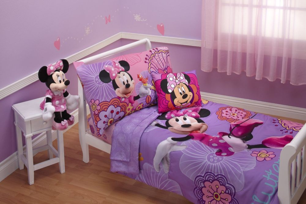 slim bedding design with Mickey mouse characters and Mickey dolls in the nightstand