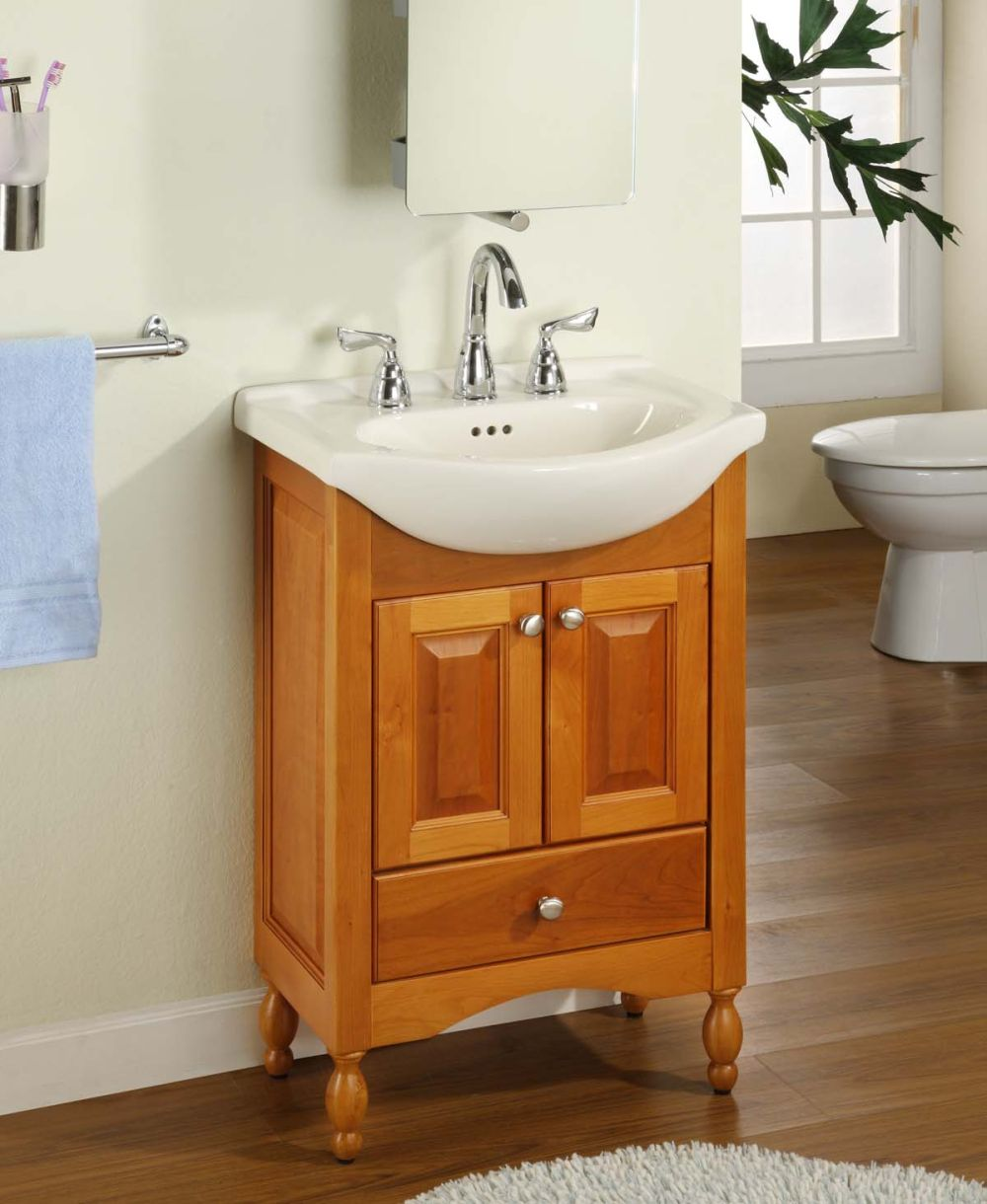 small narrow bathroom vanity sets with cute white sink and wall mounted mirror plus towel handle