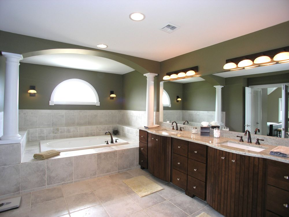 splendid bathroom interior with two tone wall designs and distressed bathroom sink vanity