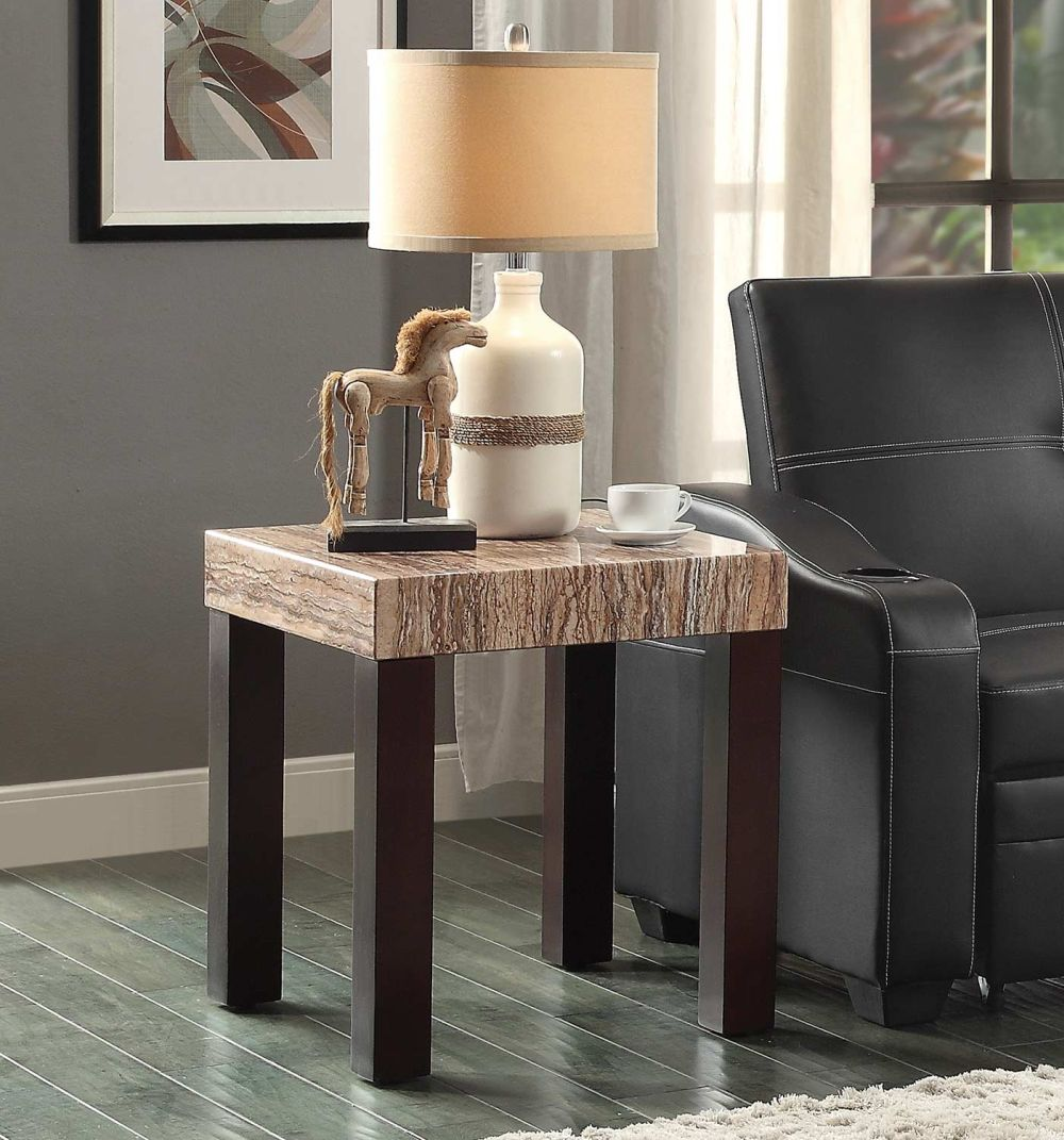 square end table with beige marble top perfect for livingroom with table lamp and sofa