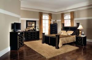 stylish black queen bedroom furniture sets with glossy bedside vanity and vintage desk