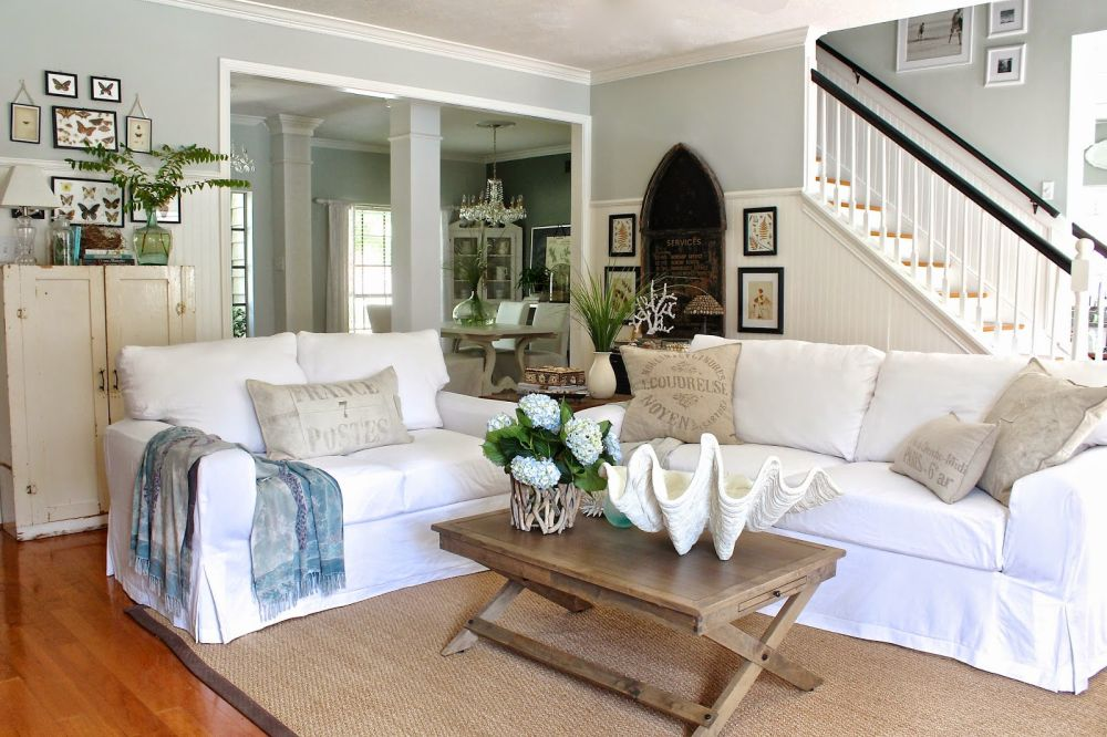 Beach House Coastal White Slipcover Living Room