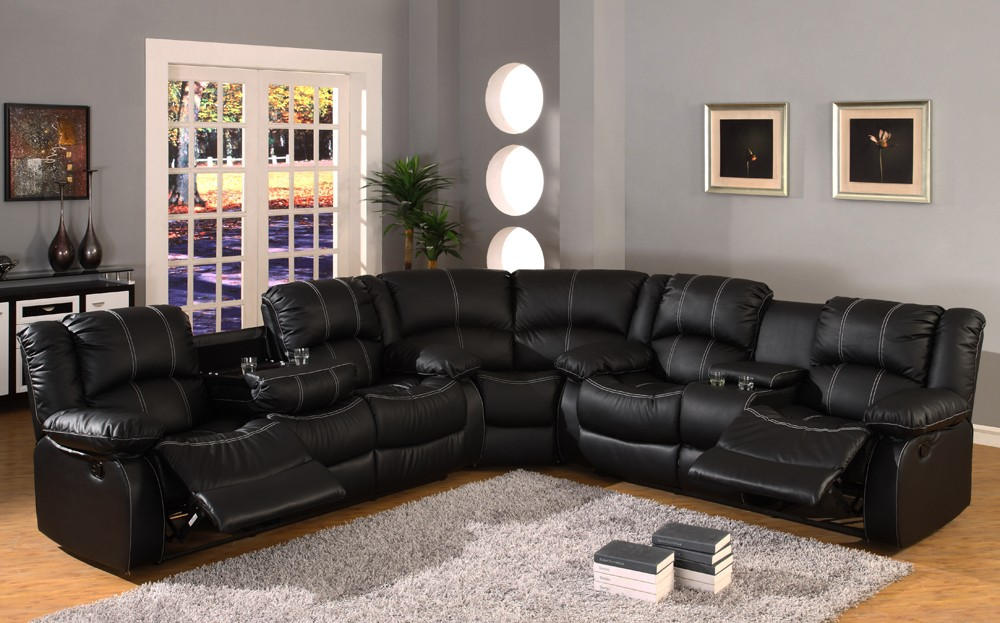 big black leather sectional sofa with built-in small table and recliner feature awesome sectional sofas with recliners for living room design