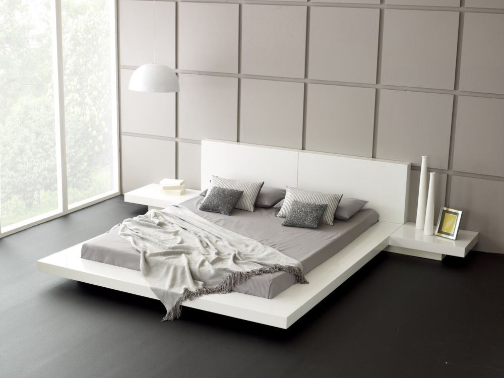 contemporary bedroom design with white platform bed and integrated bedside table outstanding side tables for bedroom design